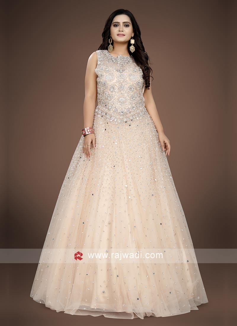 Light Peach floor length gown.