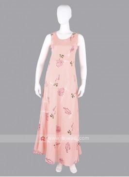Light Peach Flower Print Maxi Dress