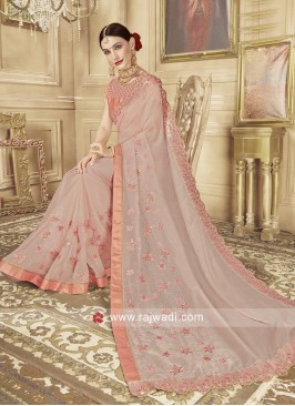Light Peach Glass Tissue Saree