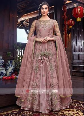 Light Peach Jacket Style Salwar Kameez