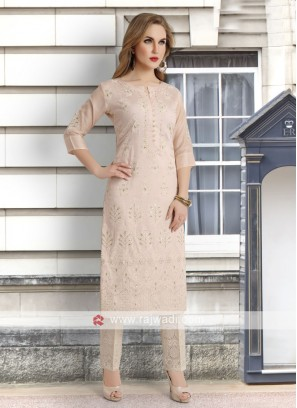 light peach kurti with pant