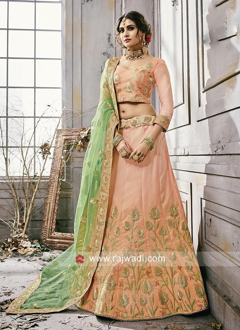 Light Peach Lehenga Choli with Dupatta