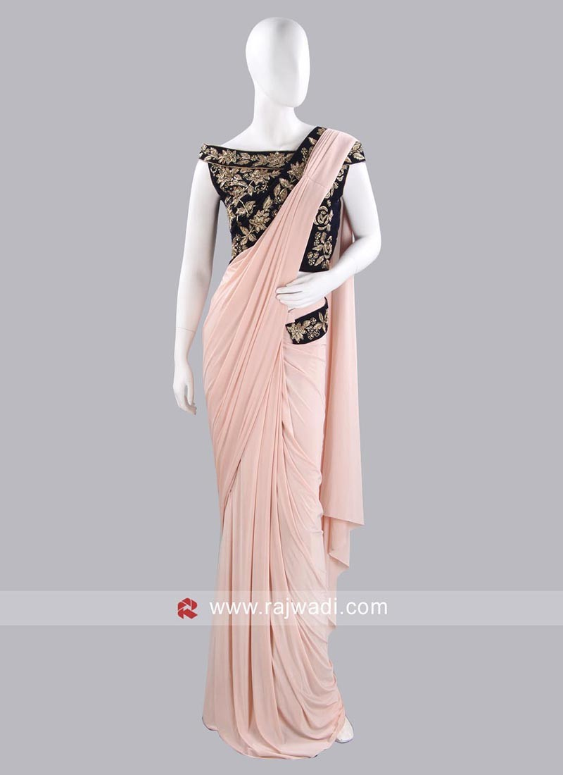 Light Peach Lycra Pre Stitched Saree