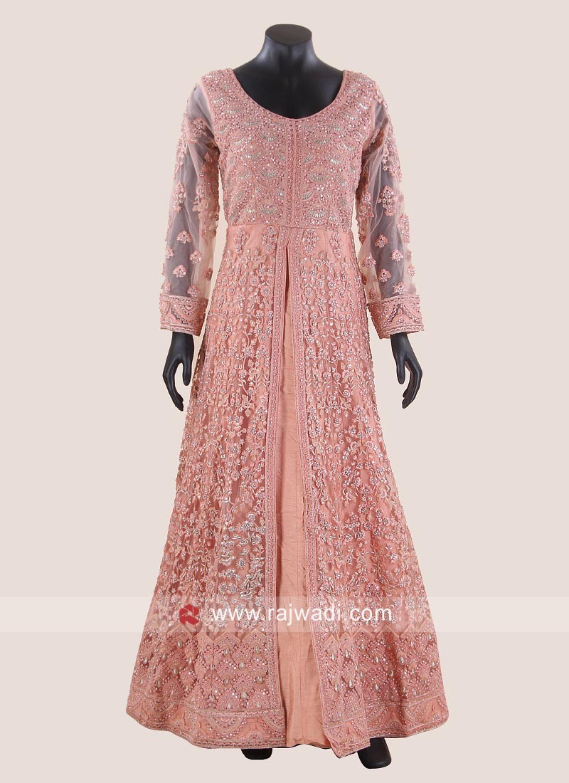 Light Peach Net Front Slit Gown