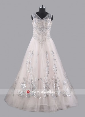 Light Peach Net Heavy Gown