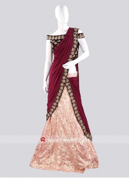 Light Peach Net Pre Stitched Lehenga Saree