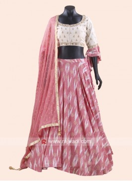 Light Peach Printed Chaniya Choli