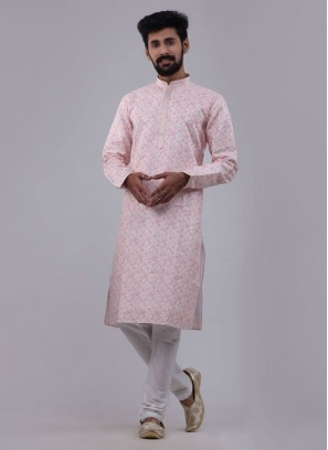 Light Peach Printed Kurta Pajama