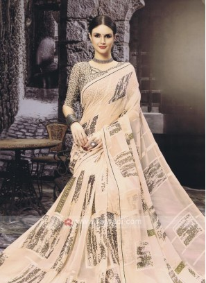 Light Peach Printed Saree