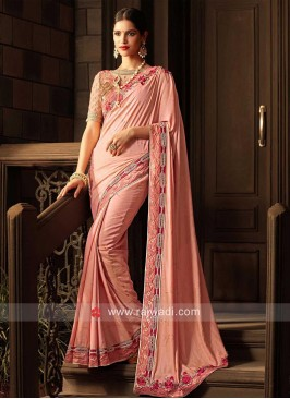 Light Peach Saree with Printed Border