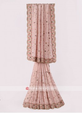 Light Peach Shimmer Silk Saree
