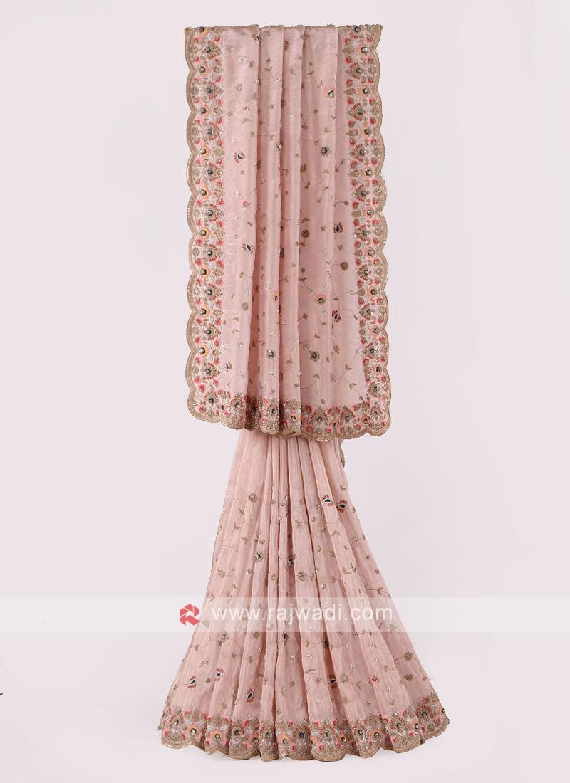 Light Peach Shimmer Silk Saree