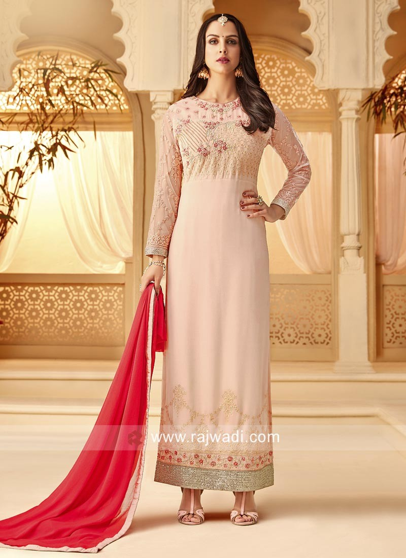 Light Peach Straight Suit for Eid