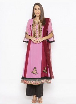 Light Pink And Black Colour Salwar Suit