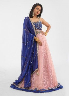 Light Pink And Blue Choli Suit