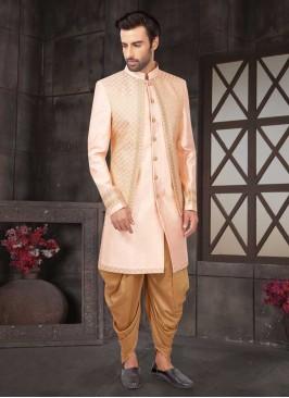 Light Pink And Golden  Mens Indo-Western
