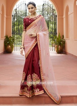 Light Pink and Maroon Half n Half Saree