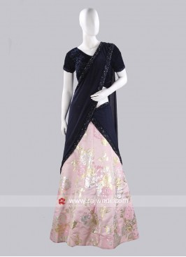 Light Pink and Navy Blue Lehenga Saree