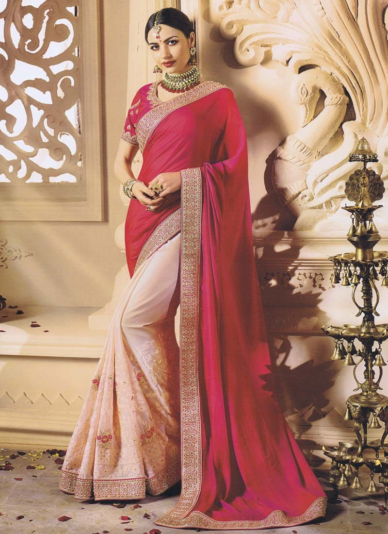 Light Pink and Rani Half n Half Saree