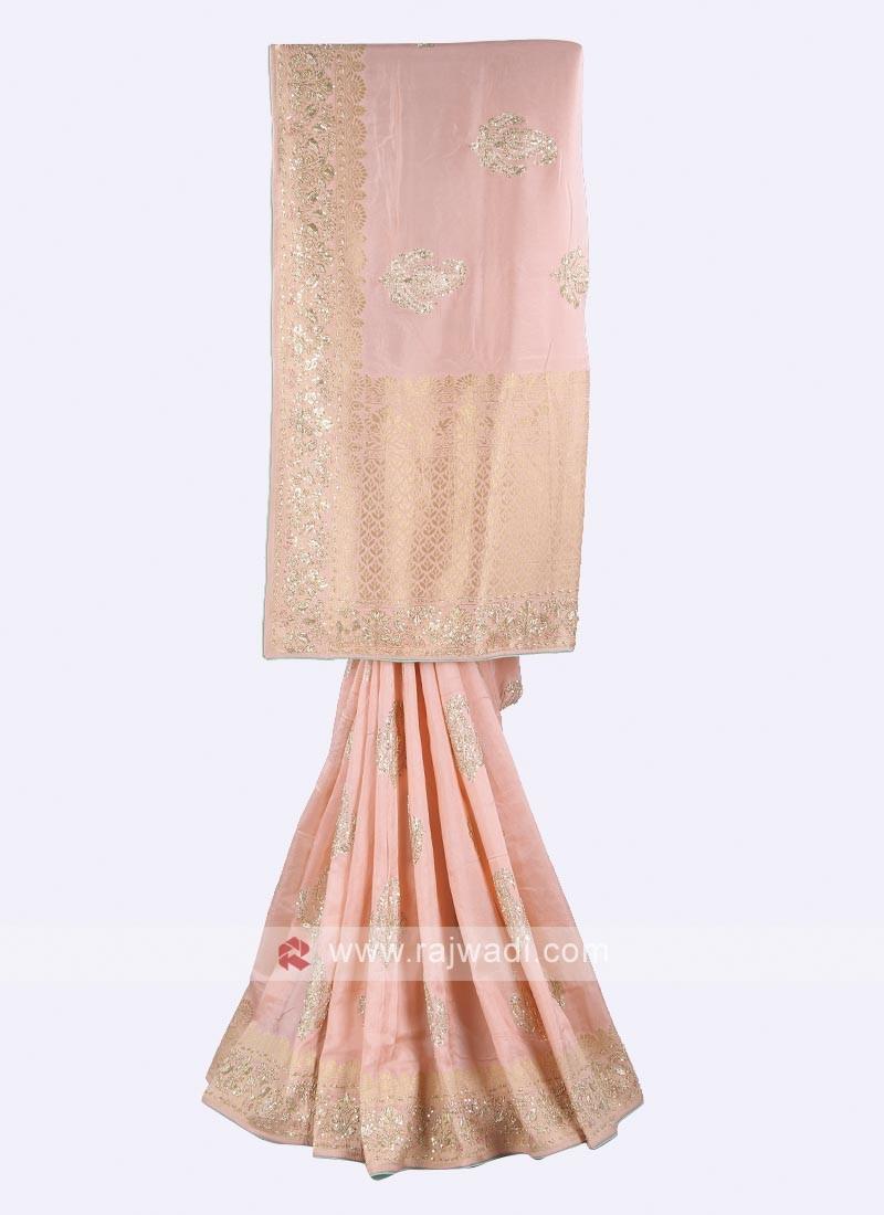 Light pink and sea green banarasi silk saree