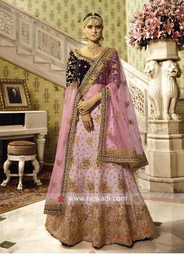 Light Pink and Wine Satin Lehenga