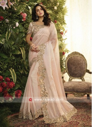 Light Pink Art Silk Border Work Saree