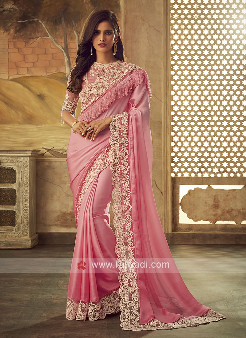 Light Pink Border Work Saree
