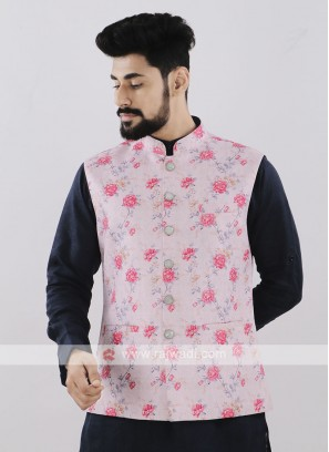 Light Pink Brocade Silk Printed Koti