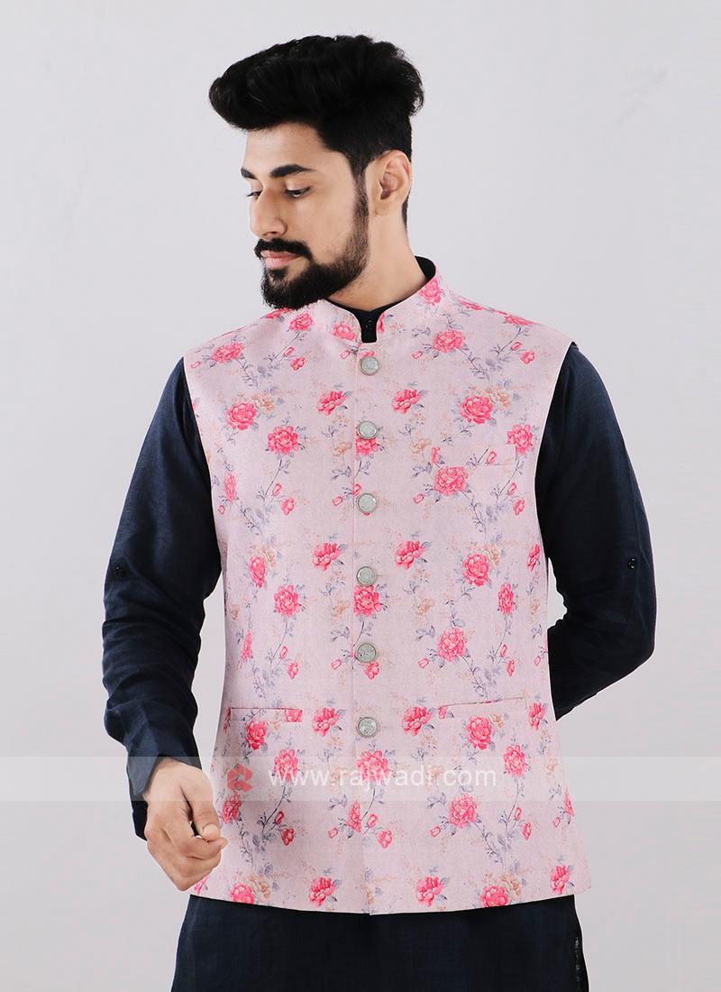 Light Pink Brocade Silk Printed Nehru Jacket