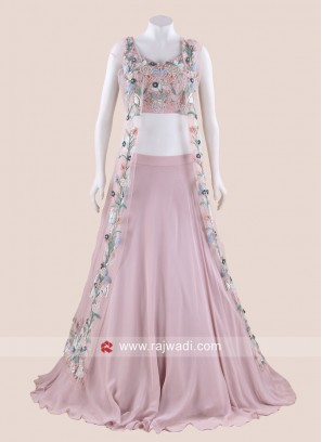 Light Pink Chiffon Choli Suit with Attached Dupatta