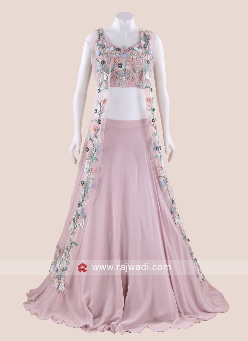 Light Pink Chiffon Choli Suit with Attached Dupatta