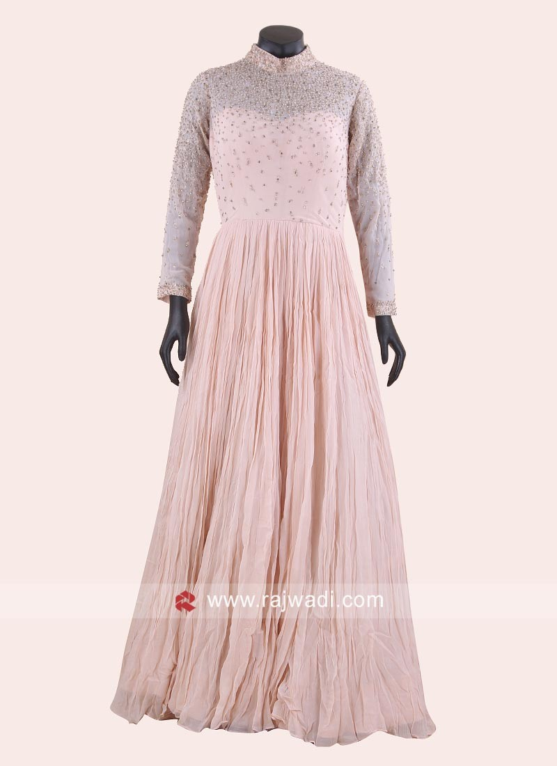 Light Pink Chiffon Pleated Floor Length Gown