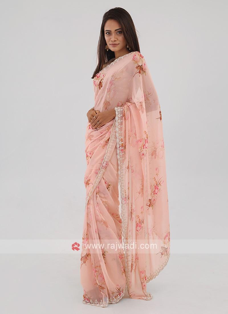 Light Pink Chiffon Saree