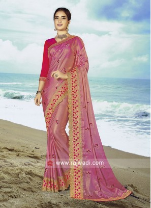 Light pink Chiffon silk saree with Rani Blouse.