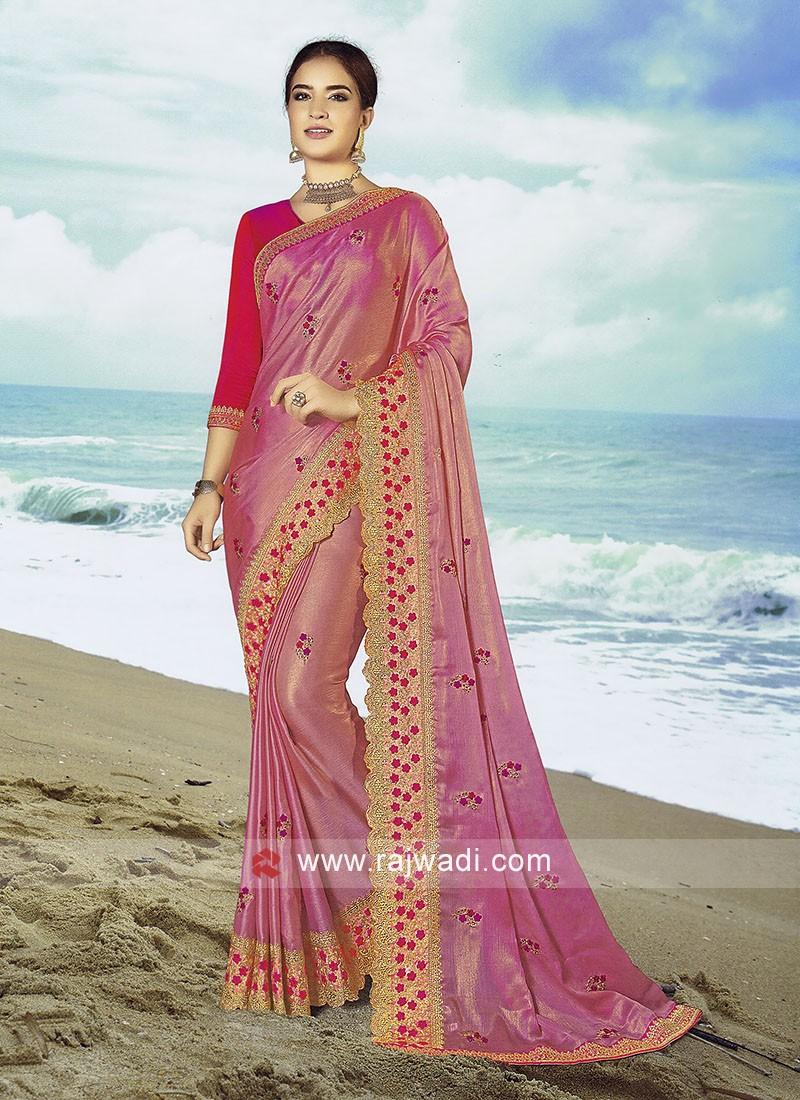 Light pink Chiffon silk saree with Rani Blouse.