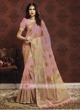 Light Pink Color Banarasi Silk Saree