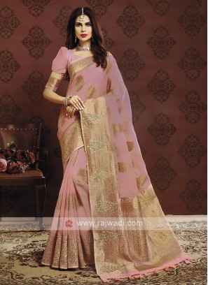 Light Pink Color Banarasi Silk Saree