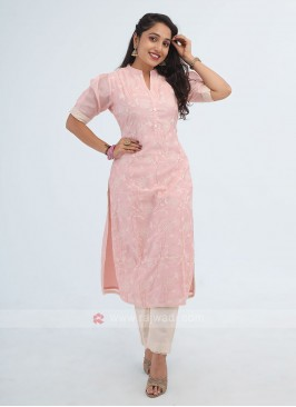 Light Pink Color Cotton Silk Kurti With Palazzo