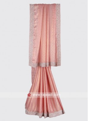 Light pink color crepe silk saree