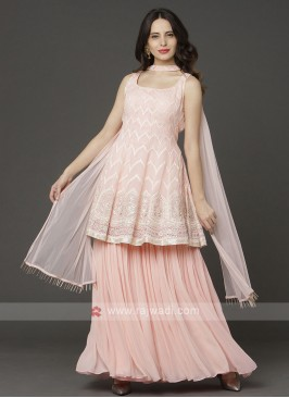 Light Pink Color Gharara Suit With Dupatta