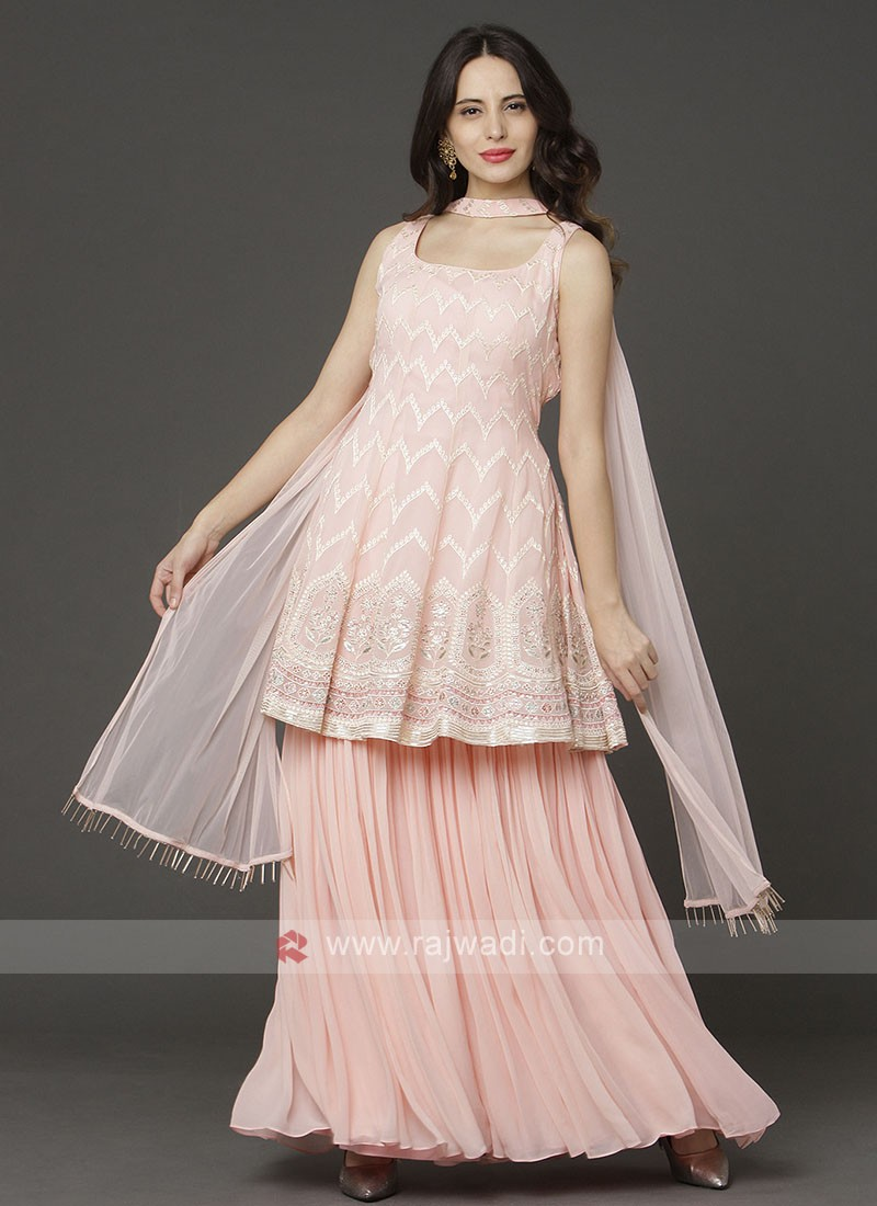 Light Pink Color Gharara Suit With Dupatta