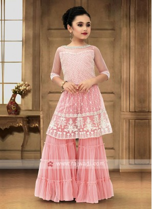 Light Pink Color Girls Palazzo Suit