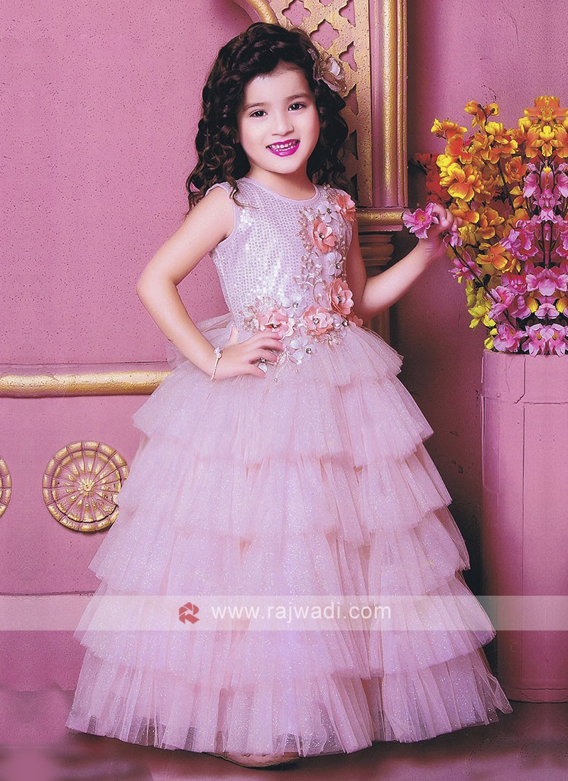 Light Pink Color Gown For Girls