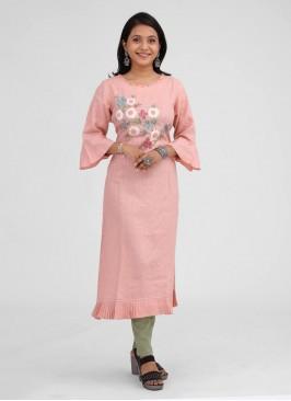 Light Pink Color Linen Fabric Kurti
