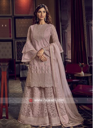 Light Pink Color Net Dress Material