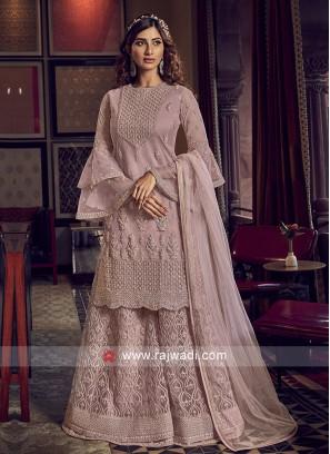 Light Pink Color Net Dress Material