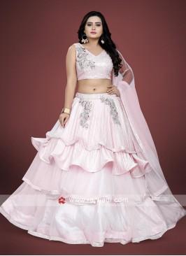 Light pink color net fabric choli suit