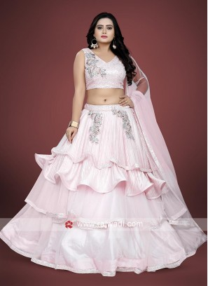 Light pink color net fabric choli suit