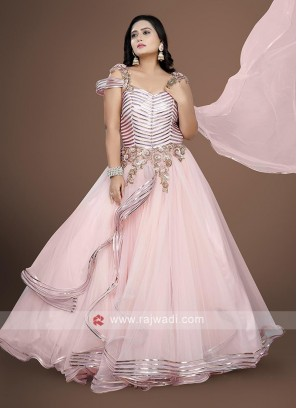 Light pink color net fabric gown