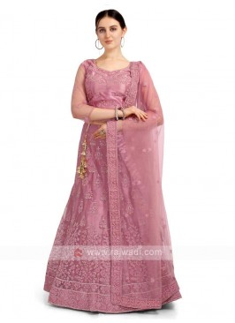Light Pink Color Net Lehenga Choli